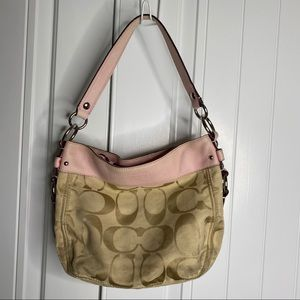 Coach logo purse with pink trim